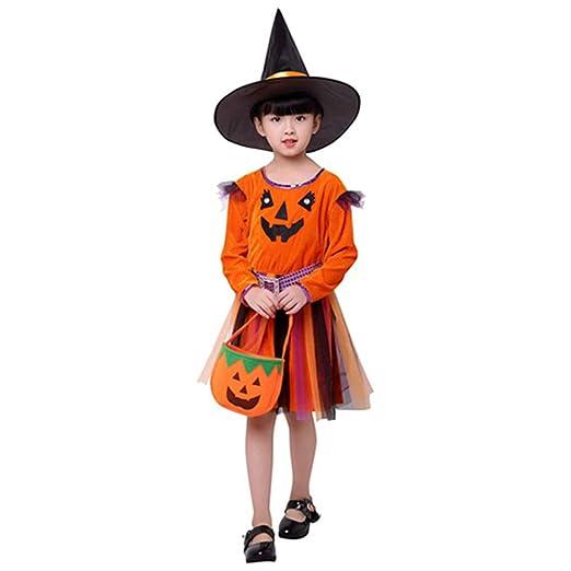 ZXYSHOP Disfraz Bruja De Halloween para Niñas Cosplay Niña ...