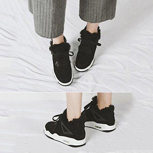 FUFU Damen Turnschuhe Baumwolle Beiläufig  Flache Ferse Schnüren  Damen Schuh  für 15-40 Jahre alt Schwarz