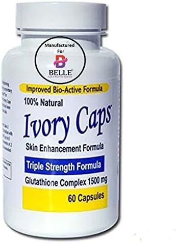 Ivory Caps Skin Whitening Lightening Skin Enhancement Max Glutathione Complex Brightening Capsules Pills (1 Bottle)