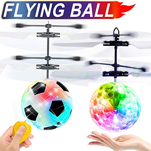 2 Pack Flying Ball Kid Toys for Boy 5 6 Years Old Gift, Mini Drone Light Up Toy for Kid Christmas Gift, Soccer Toys Remote Control Helicopter Indoor Outdoor Toys for 5 6 7 8 9 10 11 Year Old Kids (Soccer Ball Helicopter)