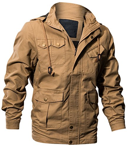 - chouyatou Man's Cotton Military Style Zip-Front Drawstring Hooded Bomber Jackets (Khaki, Large)