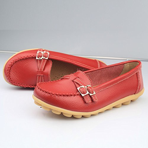 CIOR Womens Genuine Leather Loafers Casual Moccasin Driving Shoes Indoor Flat Slip-on Slippers 3.red RQPq9Jxo