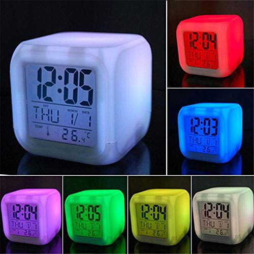 NOBLJX LED Digital Alarm Clock Wake-Up Light 7 Color Temperature Time Display and Natural Sound Light Cube Night Light Suitable for Children Adults and Students Etc ()
