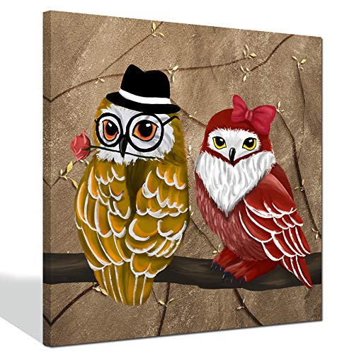 sechars - Animal Paintings Canvas Wall Art Red and Yellow Owls Canvas Art with Stretched Frame on Canvas Giclee Print for Home Decor Ready to Hang Owl Art
