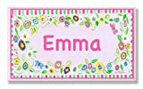 The Kids Room by Stupell Emma, Pink and Green Border with Flowers Personalized Rectangle Wall Plaque