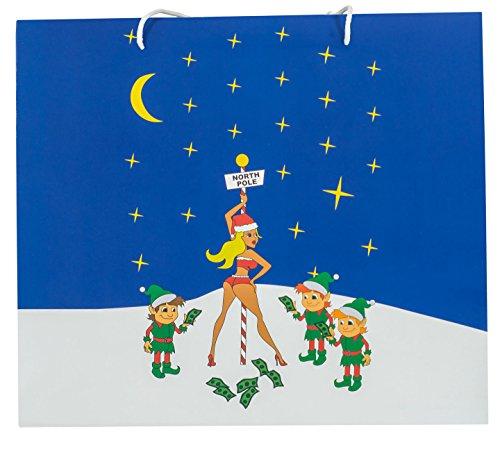 (Funny Holiday Season Christmas Gift Bag (Large, Striper)