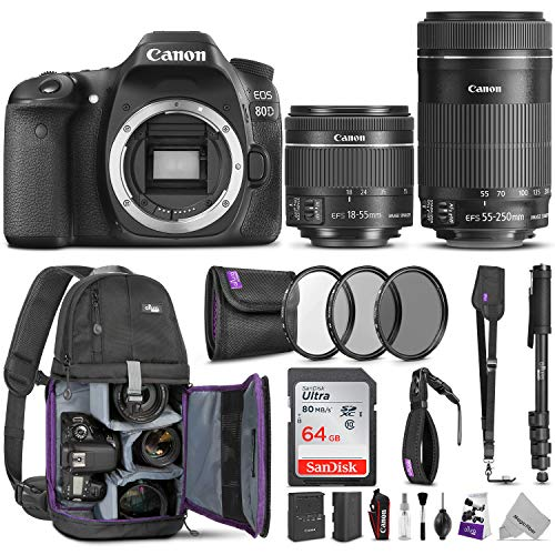 Canon EOS 80D DSLR Camera with EF-S 18-55mm f/3.5-5.6 is STM + EF-S 55-250mm f/4-5.6 is STM Lens w/Advanced Photo & Travel Bundle (Best Wifi Dslr Camera 2019)