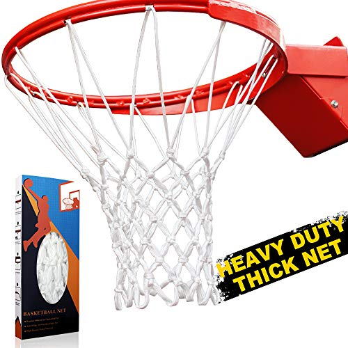 Premium Quality Professional Heavy Duty Basketball Net Replacement - All Weather Anti Whip, Fits Standard Indoor or Outdoor Rims(Professional Standard Size, White)