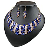 Yuhuan Spiral Metal Shining Crystal Jewelry Set Statement Necklace and Drop Earrings (Blue)