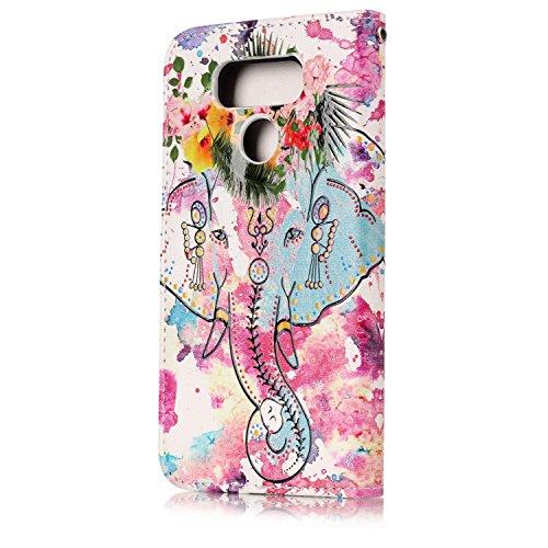 Funda LG G6,SainCat Funda de cuero sintético tipo billetera con de Suave PU Carcasa Con Tapa y Cartera,Elegante Estuche Caja,Pintado en relieve árbol Cuero de la PU Leather Cubierta Plegable Flip Caso Icono de flor