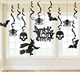 Glitter Halloween Haunted House Hanging Swirl Yard Party Decorations - Creepy Bats/Spiders/ Witch Ceiling Supplies, 13Pcs, Black