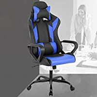 Gaming Office Chair, High-Back Racing Chair PU Leather Chair Reclining Computer Desk Chair Ergonomic Executive Swivel Rolling Chair with Adjustable Arms Lumbar Support For Women, Men(Blue)
