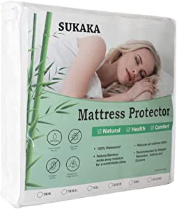 SUKAKA Queen Size Bamboo Fabric Waterproof Mattress Protector Bed Pad Smooth Soft Sheet Cover