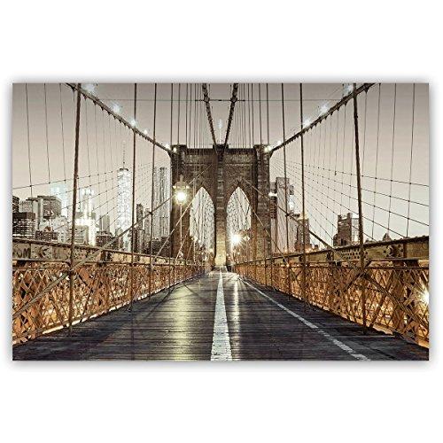 Brooklyn Bridge Art - Studio 500, Canvas Wall Art - Brooklyn Bridge NYC in Background in Black/White & Gold; 48