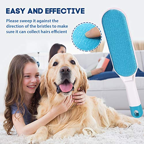 Brellavi Double-Sided Pet Hair Remover Brush with Self-Cleaning Base