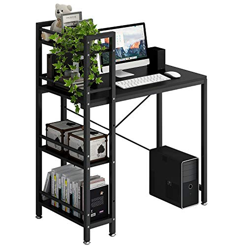 4NM Computer Desk with 4-Tier Bookshelf, 35 inches Home Office Desk Writing Workstation Study Table Multipurpose Space-Saving Desk - All Black