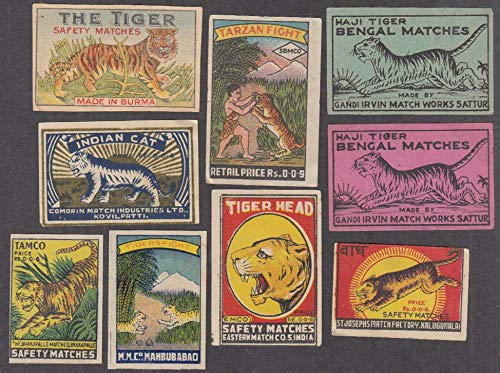 Nine different tiger-motif India matchbox labels with one Tarzan 1940s