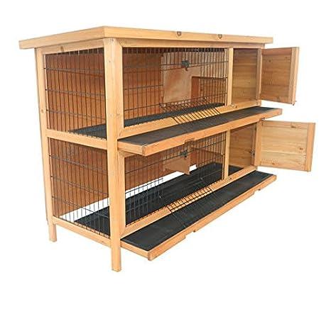 Amazon.com: PawHut - Jaula de conejo de madera para ...
