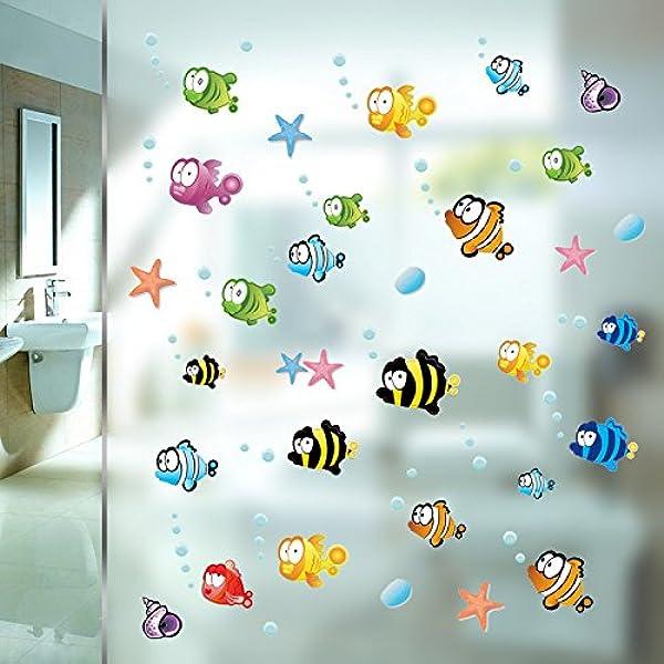 Zooarts Ocean Sea Bubble Fishes Removable Space Bathroom Window ...