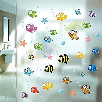Set di 75 adesivi murali con motivo marino geschenke-fabrik.de ideali per cameretta bambini//bagno
