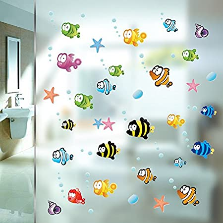 zooarts ocean sea bubble fishes removable space bathroom window wall