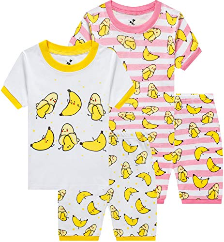 - Pajamas for Girls Summer Children 4 Pieces Striped Sleepwear Baby Banana Clothes Kids Short PJs Set 4t