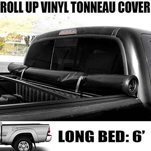 "VXMOTOR Lock & Roll-Up Soft Vinyl Truck Bed Topper Cap Tonneau Cover 2016-2017 Toyota Tacoma 6 Ft 72"" Long Bed Access / Double Cab Fleetside"