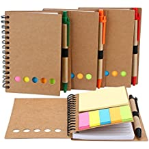 Mtlee 4 Packs 4.5 by 5.5 inch Spiral Notebook Lined Notepad with Pen in Holder and Sticky Notes, Page Marker Colored Index Tabs Flags (Brown Cover)