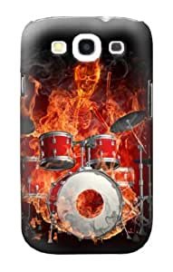 S1431 Skull Drum Fire Rock Case Cover For Iphone 4/4S