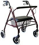 Karman Healthcare R-4700W-BD Extra Wide Steel Rollator, Burgundy, 8 Inches Heavy Duty Casters