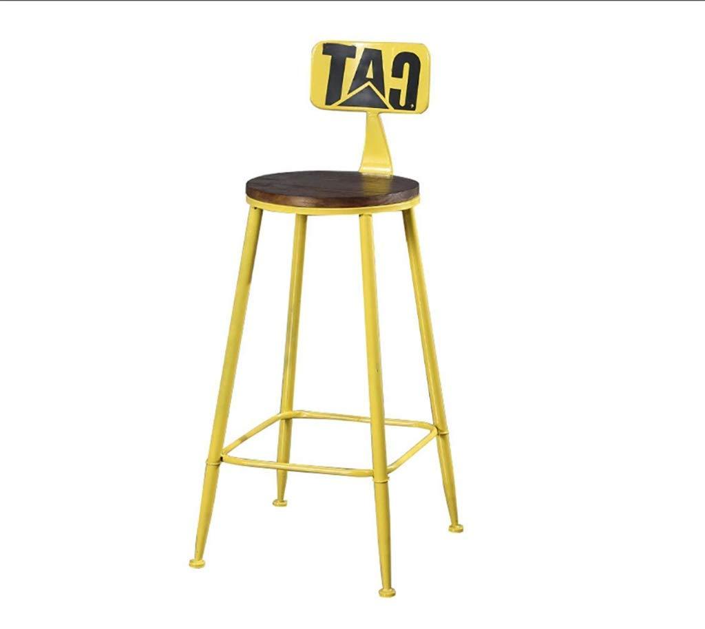 Yellow Loft Iron Bar Stool American Minimalist Chair High Stool Bar Stool Solid Wood Bar Stool Modern - Multiple colors (color   Yellow)