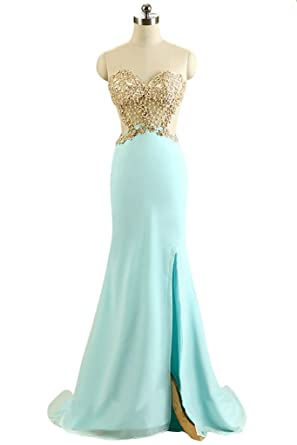 JoyVany Summer Sexy Front Slit Mermaid Prom Dress Appliques Long Party Prom Gown Blue Size 2