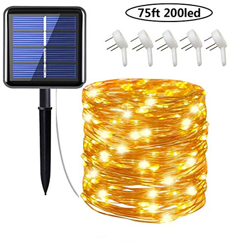 Cusomik Solar String Lights Outdoor,75ft 200 LED Copper Wire Lights,8 Modes Starry Lights, IP65 Waterproof Fairy Christmas Decorative Lights for Patio,Garden,Gate,Yard,Wedding, 1 Pack