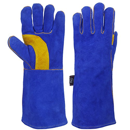 (KIM YUAN Welding Animal Gardening Handling Gloves - Scratch/bite Resistant,Cowhide Leather Cotton Lining Kevlar Thread, Bite Proof Perfect for Dog Cat Bird Snake Parrot Reptile Rose Cactus - 16in)