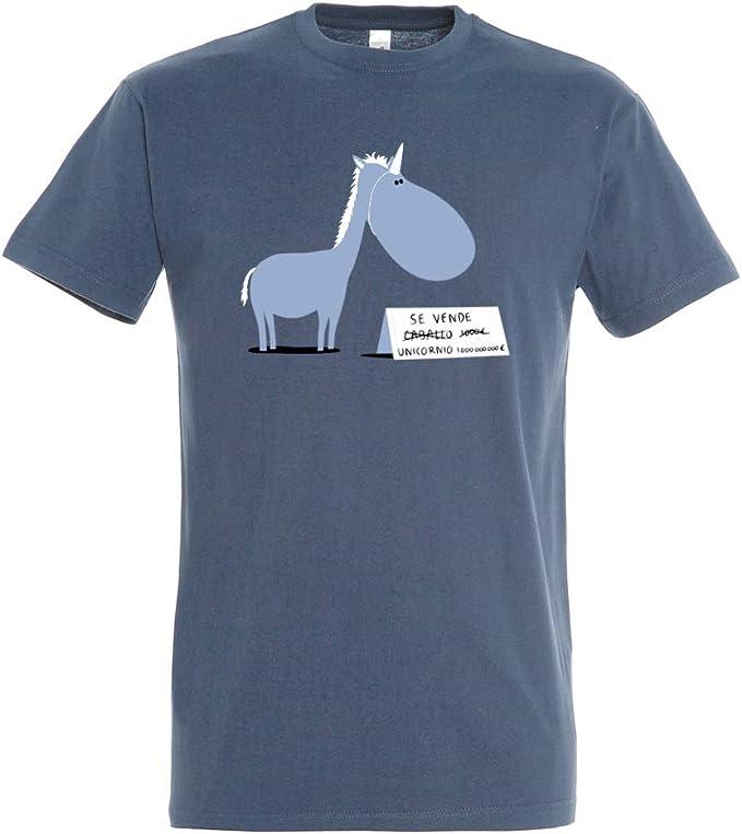 Pampling Camiseta Se Vende - Unicornio - Chiste - Color Azul Denim - 100% Algodón - Serigrafía: Amazon.es: Ropa y accesorios