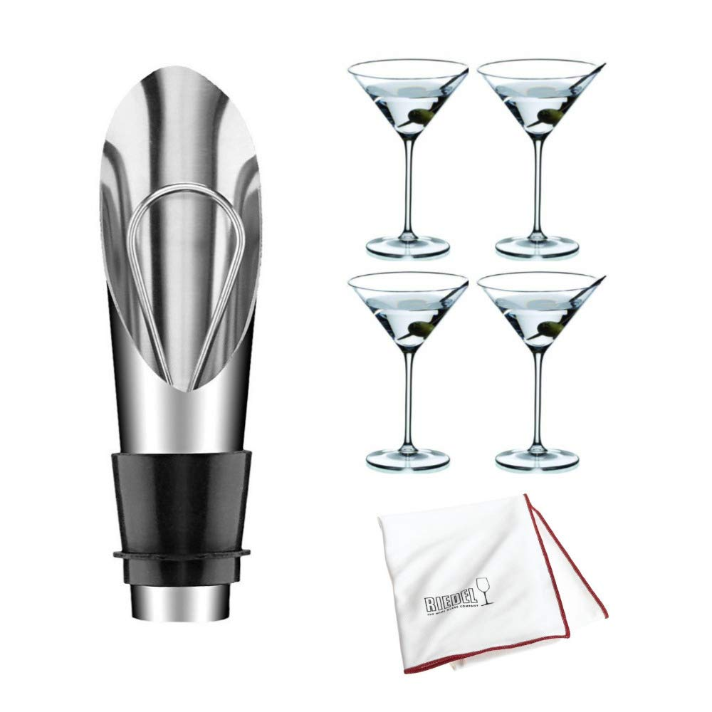 Riedel Vinum XL Martini Glasses, Set of 4 Includes Wine Pourer with Stopper and Polishing Cloth Bundle