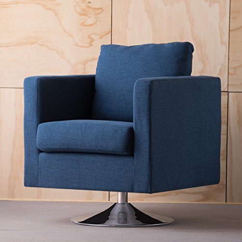 Christopher Knight Home 300584 Holden Modern Fabric Swivel Club Chair, Navy Blue