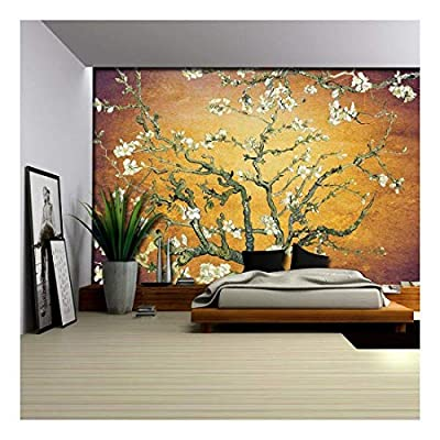 Orange with Purple Vignette Almond Blossom by Vincent Van Gogh - Wall Mural, Removable Sticker, Home Decor - 100x144 inches