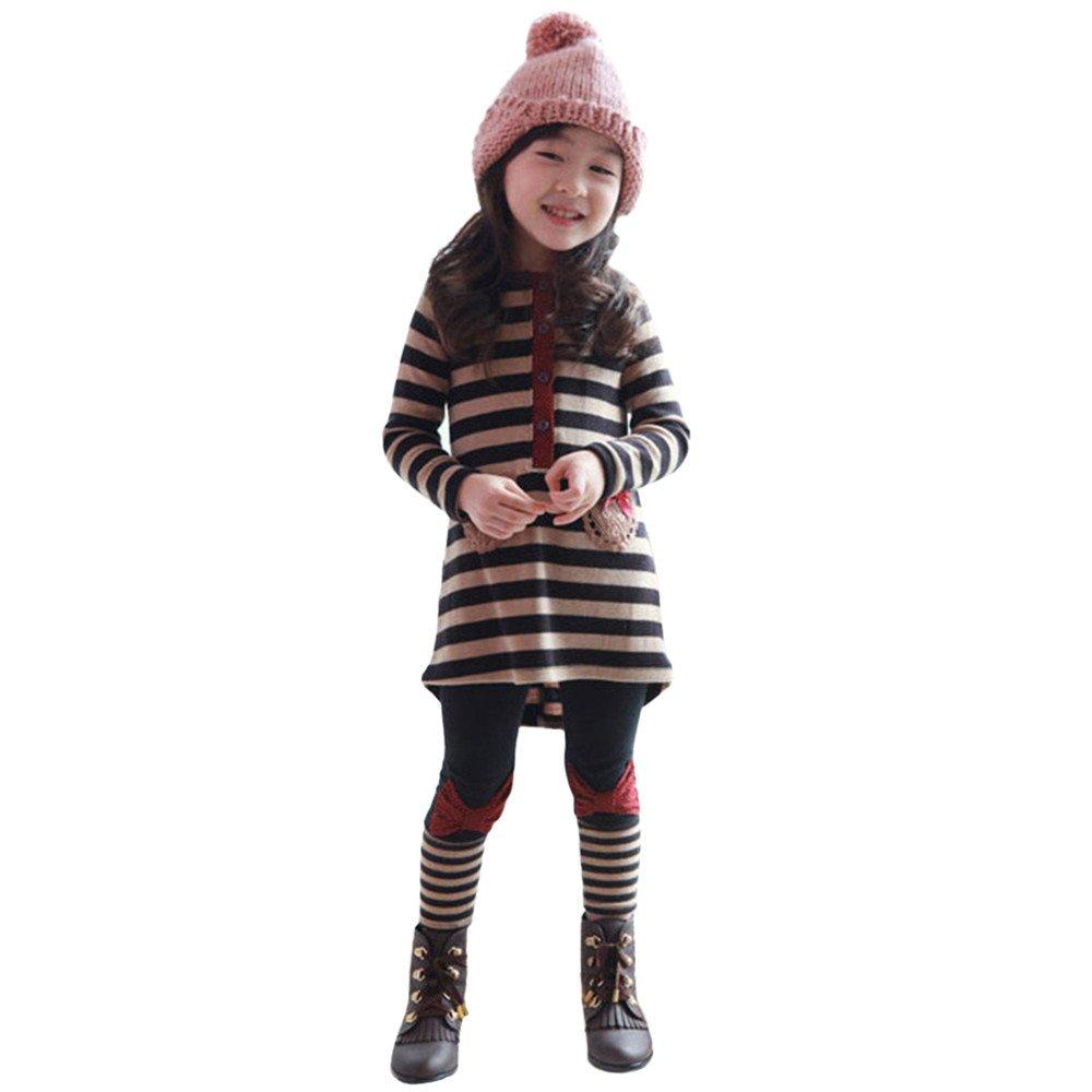 Tops + Pants Janly 2pcs Outfits Schöne Mädchen Streifen Bowknot T-Shirt Pullover mit langer Hose für 3-8 Jahre Kinder Kleidung Set (3-4 Jahre alt, Rot) Baumwollmischung
