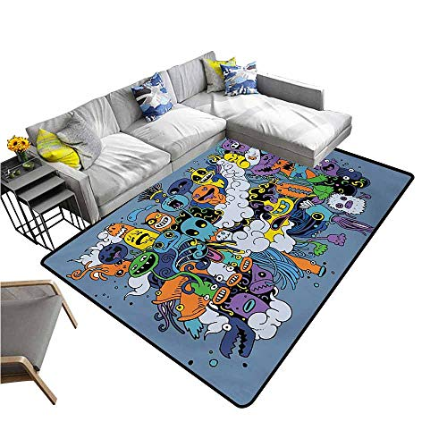 Anti-Slip Cooking Kitchen Carpets Indie,Group of Funky Monsters Society Different Expressions Abstract Groovy Doodle Style,Multicolor 60