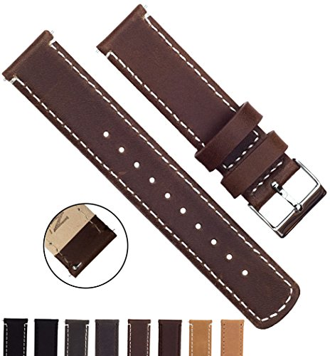 BARTON Quick Release Top Grain Leather Strap - Choose Color & Width (18mm, 20mm or 22mm) - Saddle/Linen 20mm Watch Band