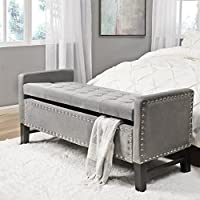 Inspired Home Columbus Velvet Modern Contemporary Button Tufted with Silver Nailhead Trim Multi Position Storage Bench, Light Grey