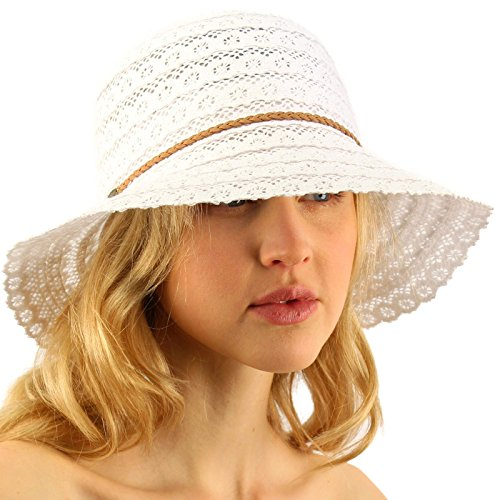 Brimmed Cloche (CC Everyday Lace Cloche Summer Derby Beach Pool Bucket Crushable Sun Hat White)