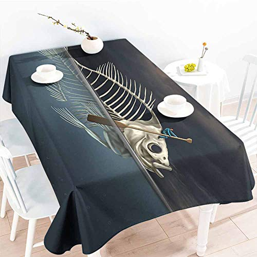 Onefzc Anti-Fading Tablecloths,Surrealistic Man with Fish Skeleton in The Sea Kayaking Lifestyle Climate Illustration,Party Decorations Table Cover Cloth,W60x84L Blue Grey - Climate Mens Grid