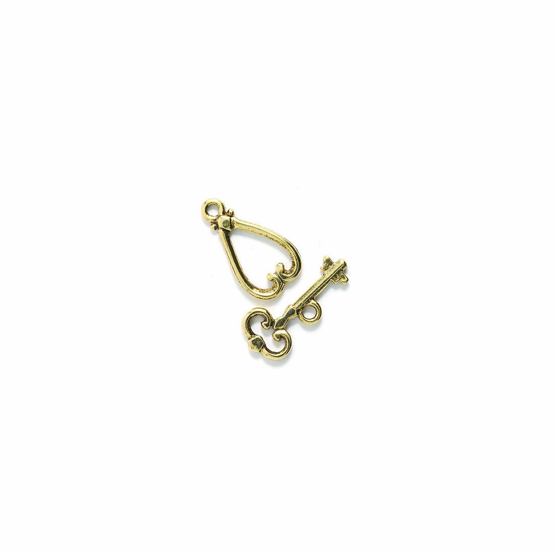 Metallic 21mm Shipwreck Beads Pewter Heart and Key Toggle Clasp Set of 3 Antique Gold