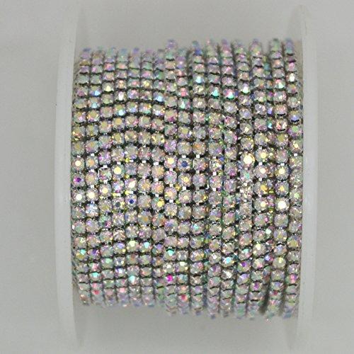 10 Yard Crystal Ab Rhinestone Close Chain Clear Trim Sewing Craft  2Mm  Silver