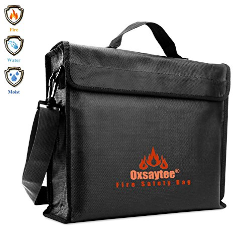 "Fire Safe Bags - Oxsaytee Fireproof Document Bag, Large Fire and Water Resistant Money Bag (15""11""3""), Silicone Coated with Shoulder Strap Fire Resistant Envelope Pouch for Passport, Jewelry and Valuables"