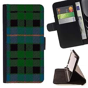 For Sony Xperia Z5 Compact Z5 Mini (Not for Normal Z5) Case , Tela Verde Azul Rayas- la tarjeta de Crédito Slots PU Funda de cuero Monedero caso cubierta de piel