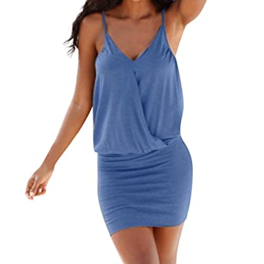 Damen V-Ausschnitt Wickelkleider Bodycon Kleid Minikleid Sommerkleid Strandkleid
