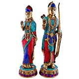 Misc Arist 1.2 Ft Large Hindu Rama Sita Statue, Rare God Goddess Brass Sculpture, Divine Perfect Married Couple Murti Wedding